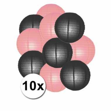 Zwarte en roze feest lampionnen 10x