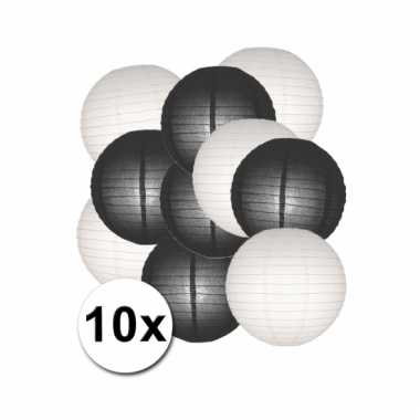 Zwarte en witte feest lampionnen 10x