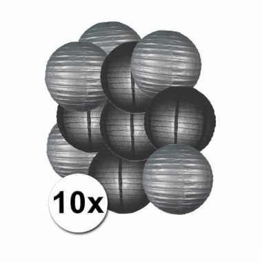 Zwarte en zilveren feest lampionnen 10x