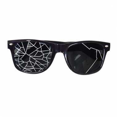 Zwarte fop bril met kapotte glazen