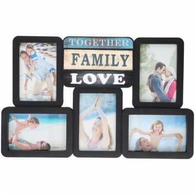 Zwarte fotolijst decoratie 5x foto family love