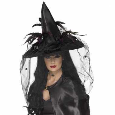 Zwarte heksenhoed met veren