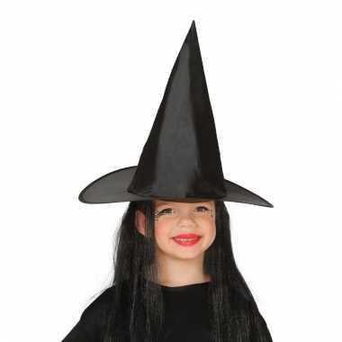 Zwarte heksenhoeden met haren voor kinderen
