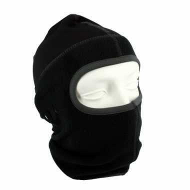 Zwarte helm bivakmuts one hole