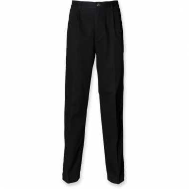 Zwarte heren broek van katoen