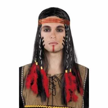 Zwarte indianen pruik met vlechten