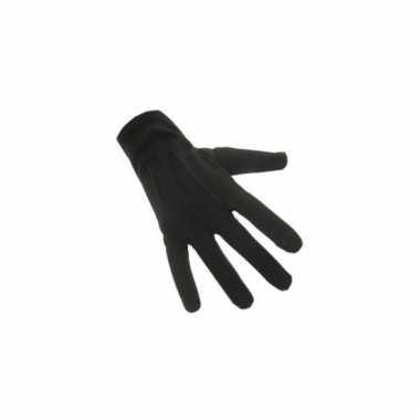 Zwarte katoenen handschoenen kort