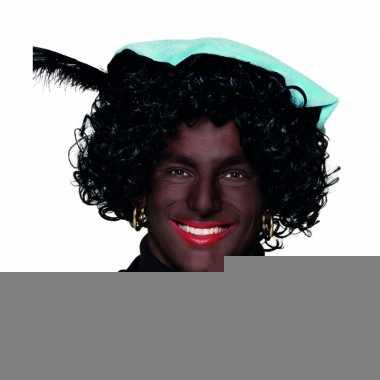 Zwarte piet col van stof voor volwassenen