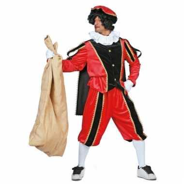 Zwarte piet pak in rood met zwart