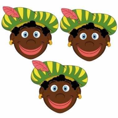 Zwarte pieten feestmaskers voor kinderen 3 stuks 10096305