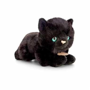 Zwarte poes/kat knuffel liggend 30cm