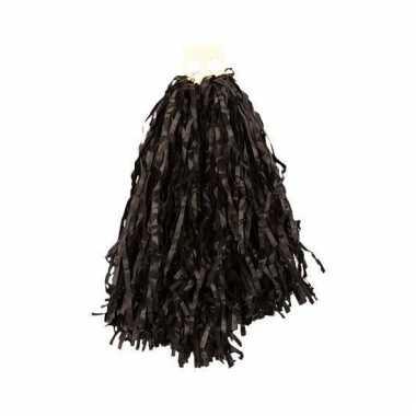 Zwarte pompoms 28 cm