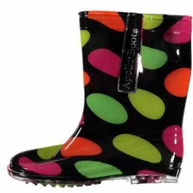 Zwarte regenlaarzen met gekleurde stippen voor kinderen