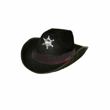 Zwarte sheriff hoed volwassenen