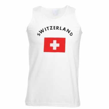 Zwitserland vlaggen tanktop/ t-shirt