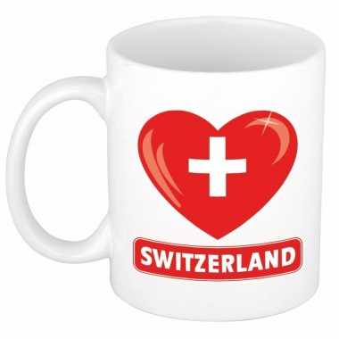 Zwitserse vlag hart mok / beker 300 ml