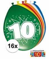 16 party ballonnen 10 jaar opdruk sticker