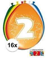 16 party ballonnen 2 jaar opdruk sticker