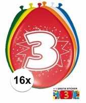 16 party ballonnen 3 jaar opdruk sticker