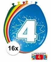 16 party ballonnen 4 jaar opdruk sticker