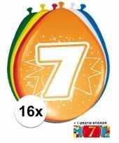 16 party ballonnen 7 jaar opdruk sticker