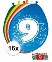 16 party ballonnen 9 jaar opdruk sticker