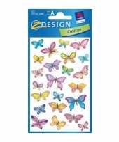 3 vellen met vlindertjes stickers