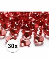 30 hart edelsteentjes rood 2 cm