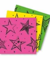 6 servetten neon gekleurd
