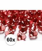 60 hart edelsteentjes rood 2 cm
