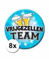 8 vrijgezellen team xxl blauwe buttons