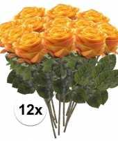 Afgeprijsde 12 x geel oranje roos simone 45 cm kunstplant steelbloem
