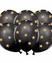Afgeprijsde 12x nieuwjaar ballonnen zwart met gouden sterren
