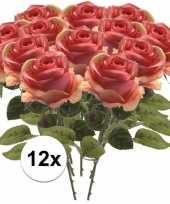 Afgeprijsde 12x roze roos 45 cm kunstplant steelbloem