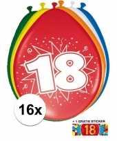 Afgeprijsde 16 party ballonnen 18 jaar opdruk sticker