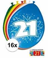 Afgeprijsde 16 party ballonnen 21 jaar opdruk sticker