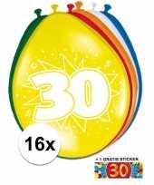 Afgeprijsde 16 party ballonnen 30 jaar opdruk sticker