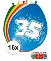 Afgeprijsde 16 party ballonnen 35 jaar opdruk sticker