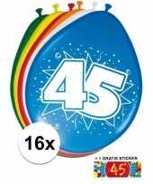 Afgeprijsde 16 party ballonnen 45 jaar opdruk sticker