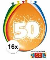 Afgeprijsde 16 party ballonnen 50 jaar opdruk sticker