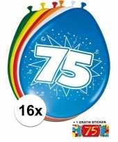 Afgeprijsde 16 party ballonnen 75 jaar opdruk sticker