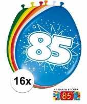 Afgeprijsde 16 party ballonnen 85 jaar opdruk sticker