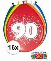 Afgeprijsde 16 party ballonnen 90 jaar opdruk sticker