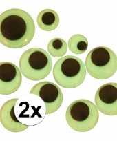 Afgeprijsde 2 stuks wiebelende sticker oogjes glow in the dark 30 stuks