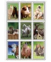 Afgeprijsde 2 vellen van 3d kinder stickers boerderijdieren 9 stuks per vel