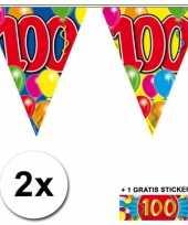 Afgeprijsde 2 x leeftijd vlaggenlijnen 100 jaar met sticker