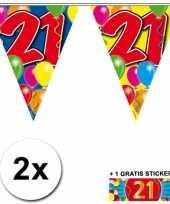 Afgeprijsde 2 x leeftijd vlaggenlijnen 21 jaar met sticker