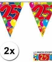 Afgeprijsde 2 x leeftijd vlaggenlijnen 25 jaar met sticker
