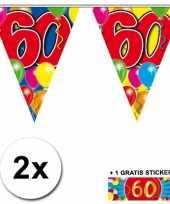 Afgeprijsde 2 x leeftijd vlaggenlijnen 60 jaar met sticker