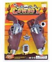 Afgeprijsde 2x feest cowboy western revolver pistool zilver 22 cm met holster